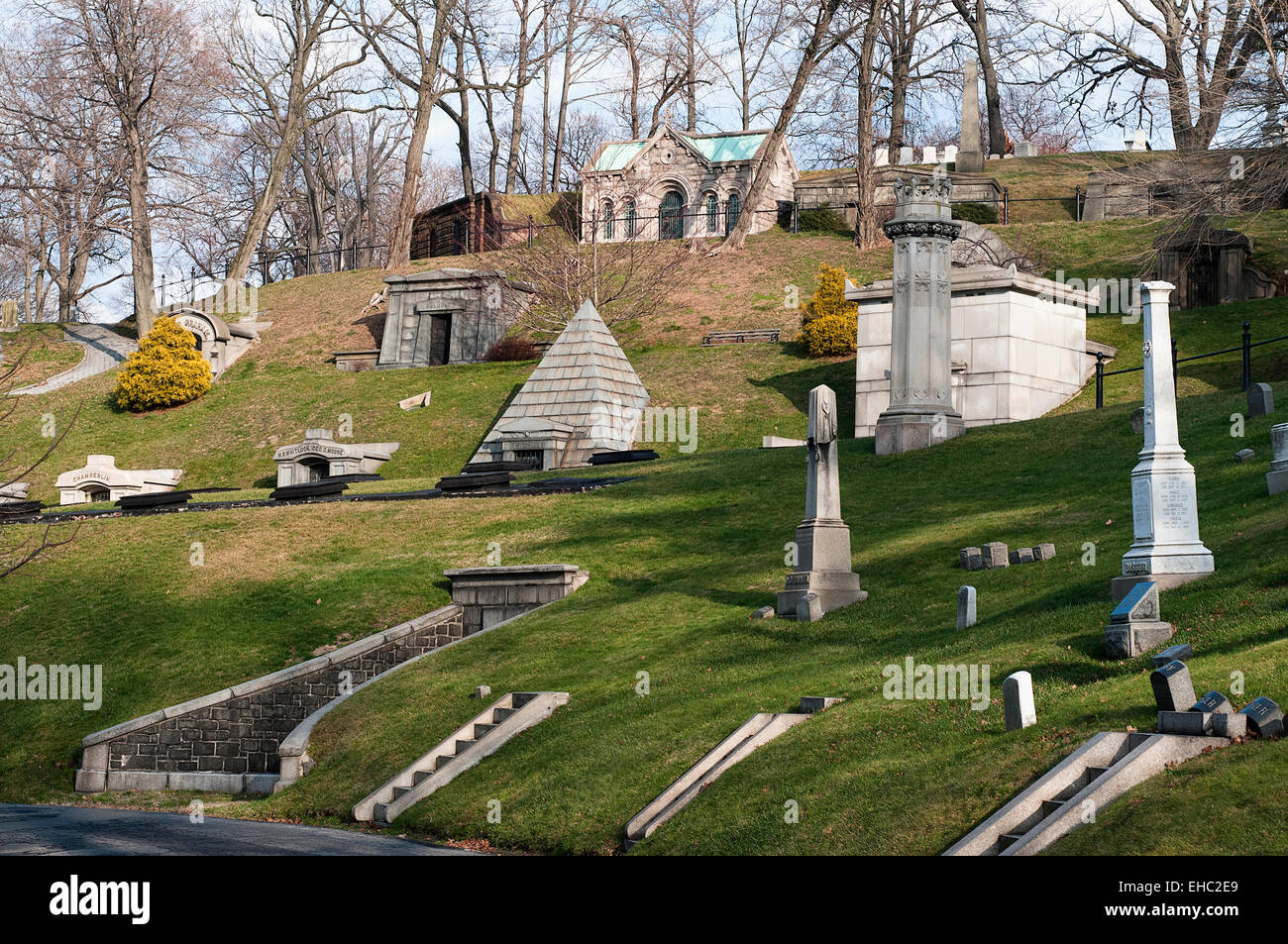 A variety of family mausoleums in Green-Wood cemetery in Brooklyn, New York - Stock Image