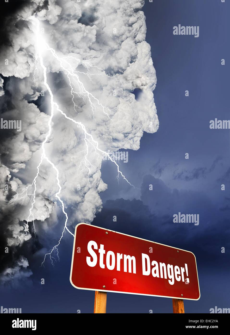 Storm Is Coming illustration with giant storm cloud in form of a human head - Stock Image