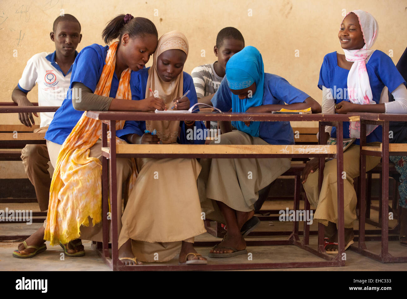 Members of the 'Our Future' children's club at the Secondary School, Tera, west Niger. 