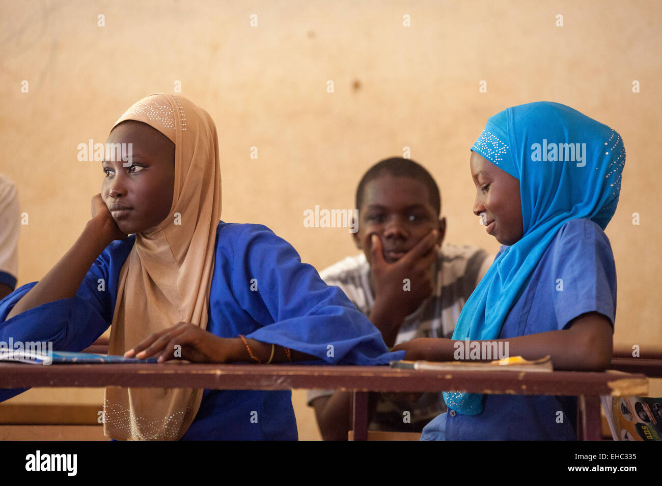 """Members of the """"Our Future"""" children's club at the Secondary School, Tera, west Niger. Stock Photo"""