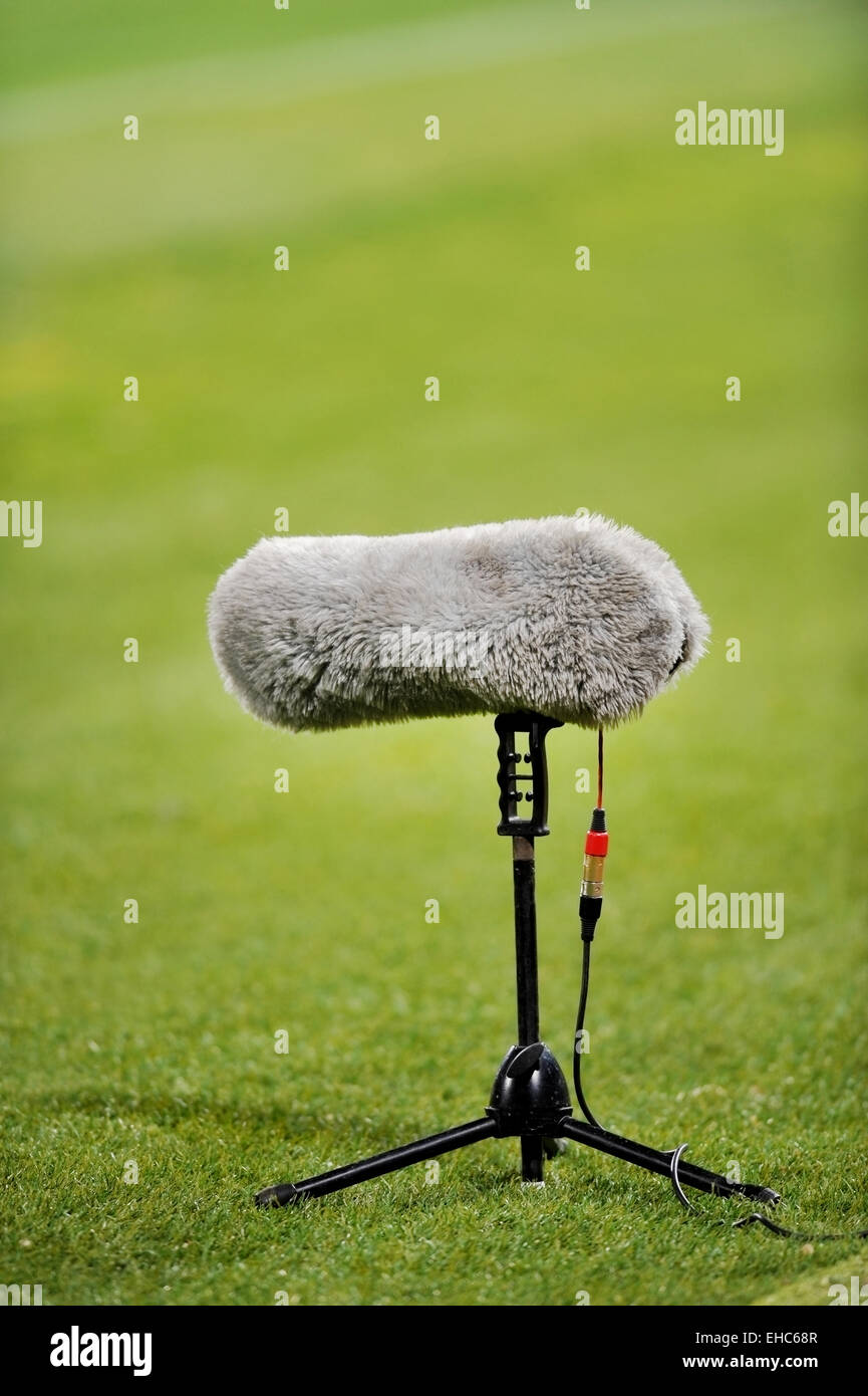 c8a084381 Furry sport microphone on a soccer field Stock Photo: 79558999 - Alamy