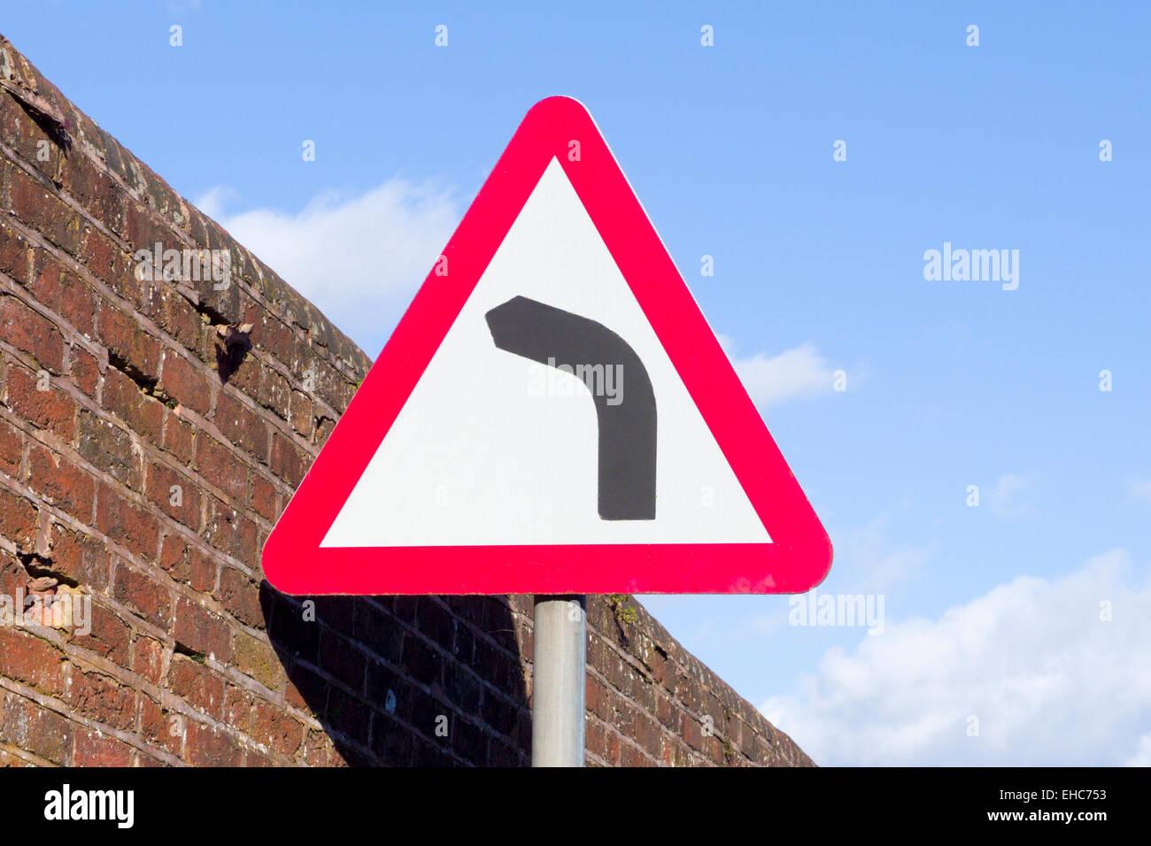 Left Hand Bend Hazard Road Sign UK