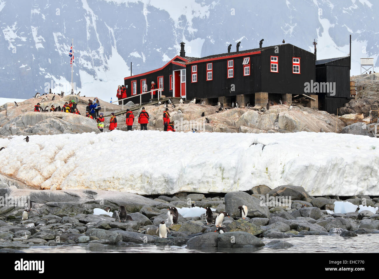 Penguin Post Office the old research station at Port Lockroy, Antarctica. Stock Photo