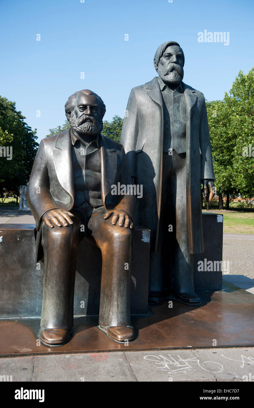 Bronze figure of Karl Marx and Friedrich Engels, famous german communists Berlin Germany Europe Stock Photo