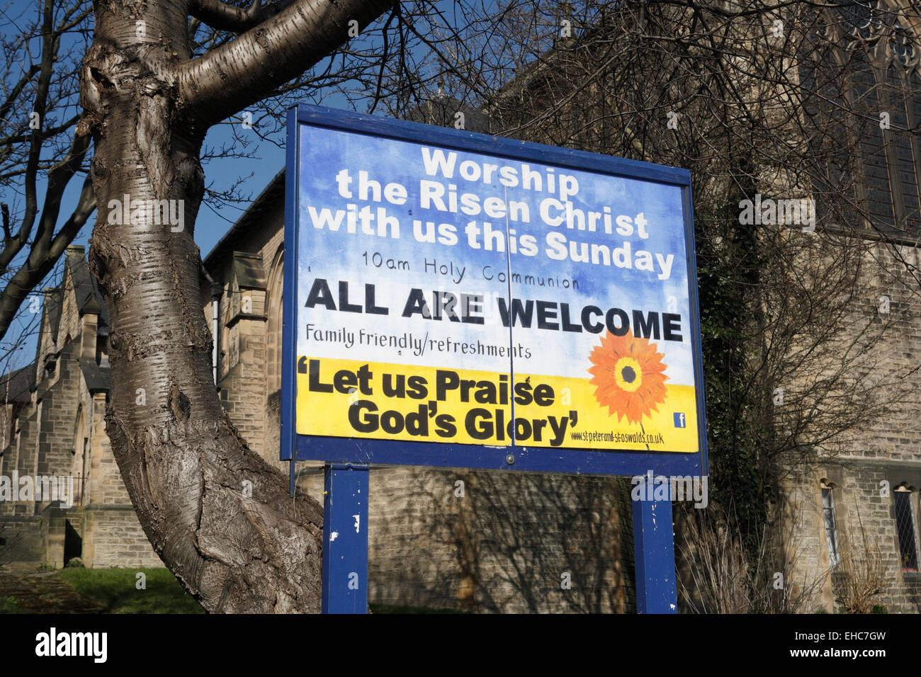 Invitation to worship in church, in Abbeydale Sheffield - Stock Image