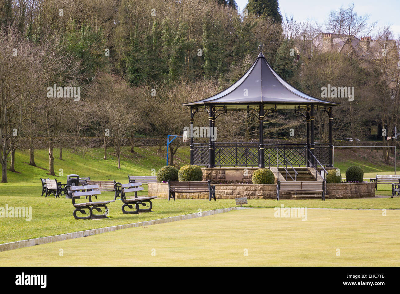 Bandstand at the Recreation Ground in Pateley Bridge, Yorkshire. - Stock Image
