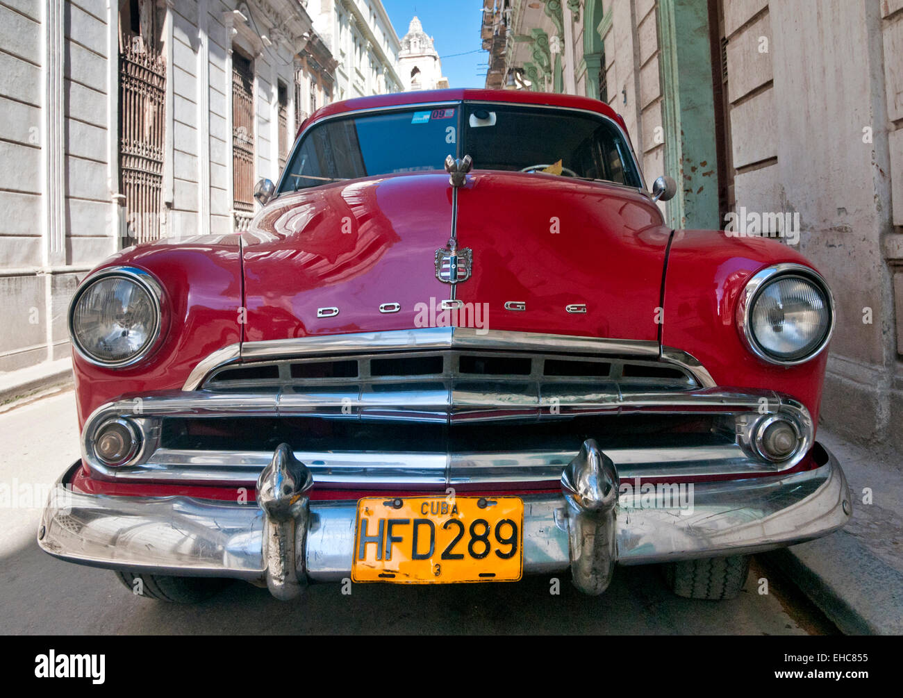 Red 1950s American Dodge Classic Car on Calle Cuba, Habana Vieja, Havana, Cuba - Stock Image