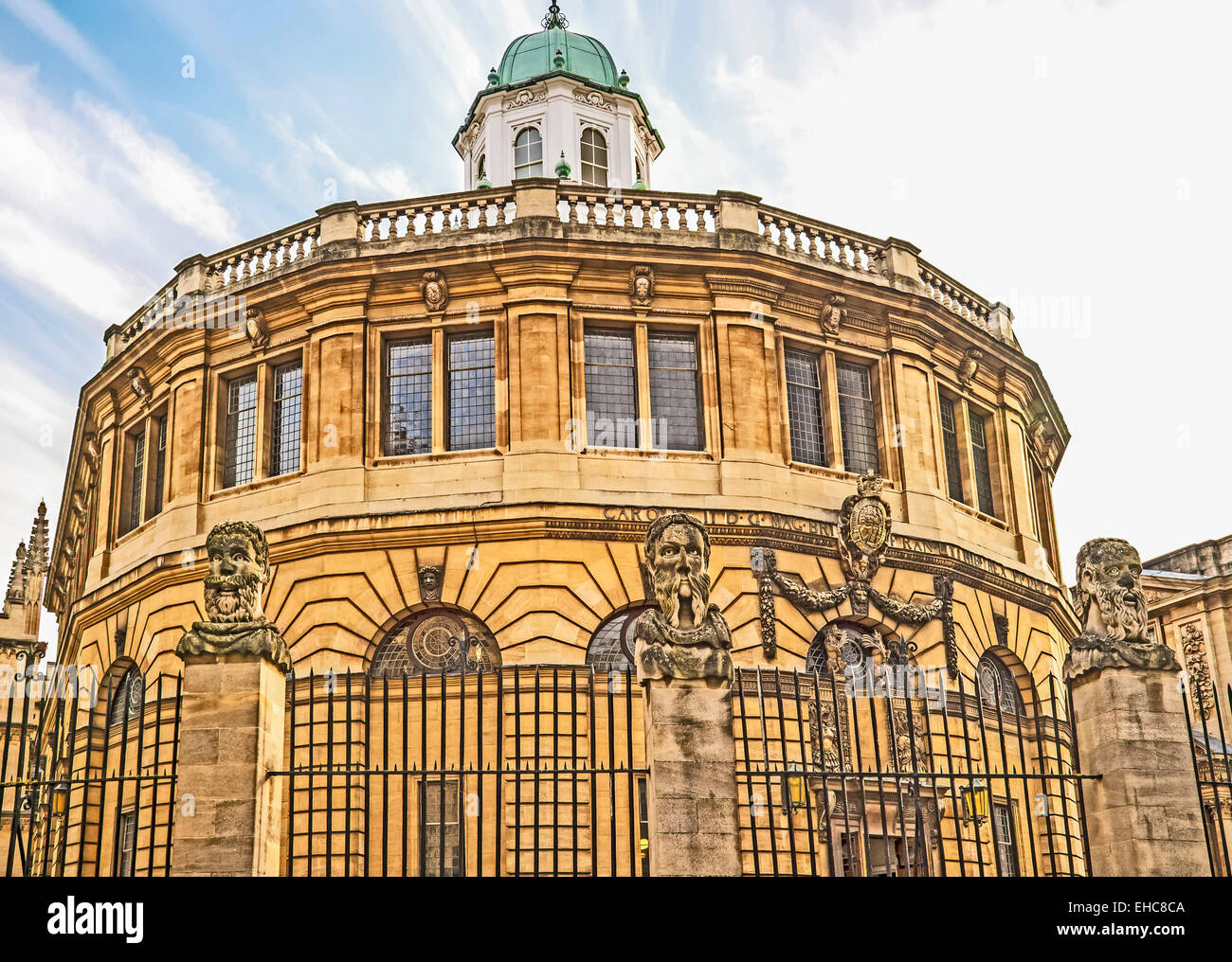 Busts of the Emperor's (or Apostles') Heads outside the Sheldonian Theatre in Oxford - Stock Image