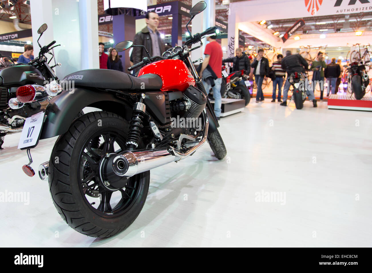 Istanbul, Turkey - February 27, 2015: Motorcycles on display at Eurasia motorbike expo 2015, CNR Expo - Stock Image
