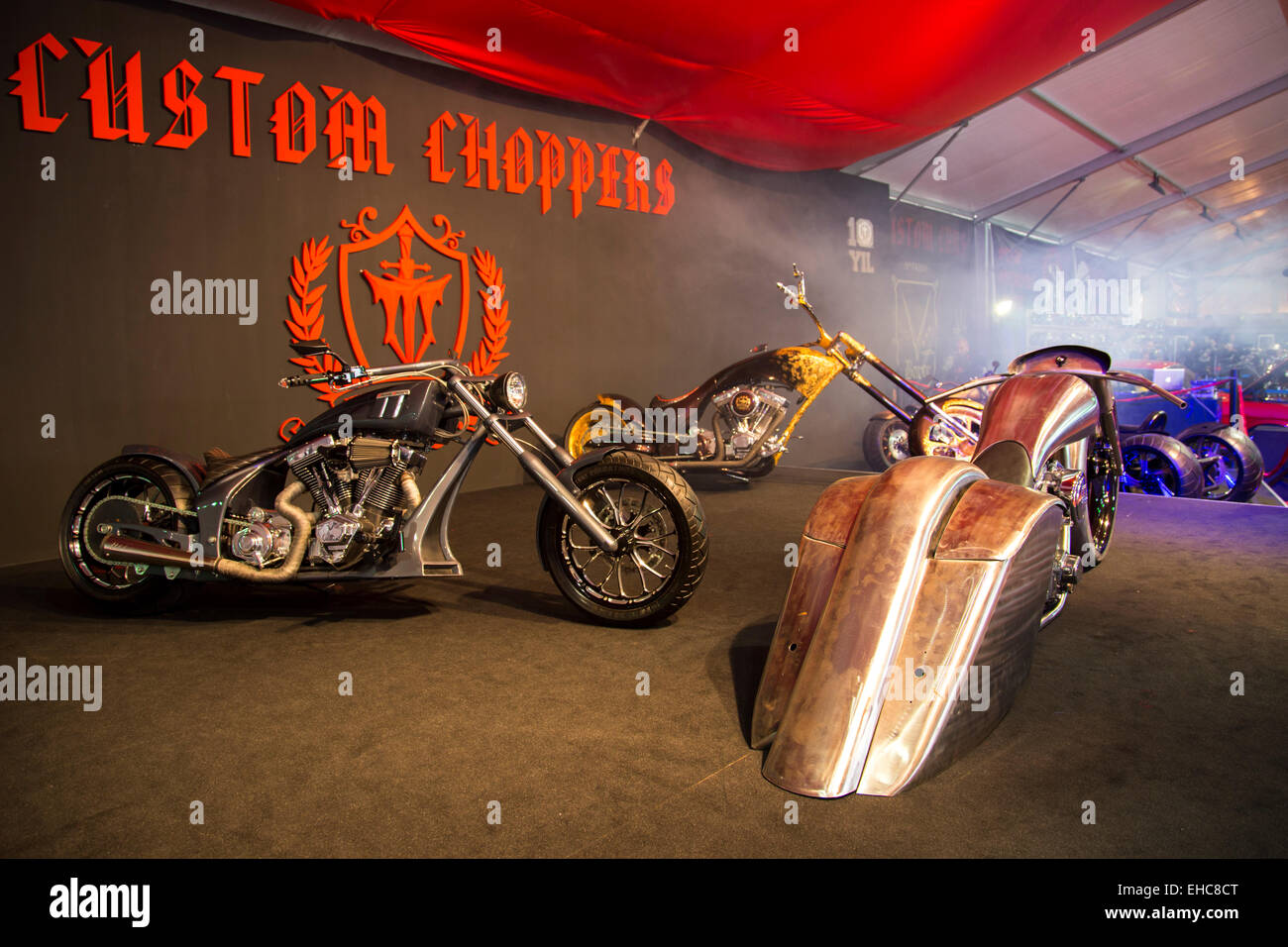 Istanbul, Turkey - February 27, 2015: TT Custom Choppers motorcycles on display at Eurasia motobike expo, CNR Expo - Stock Image