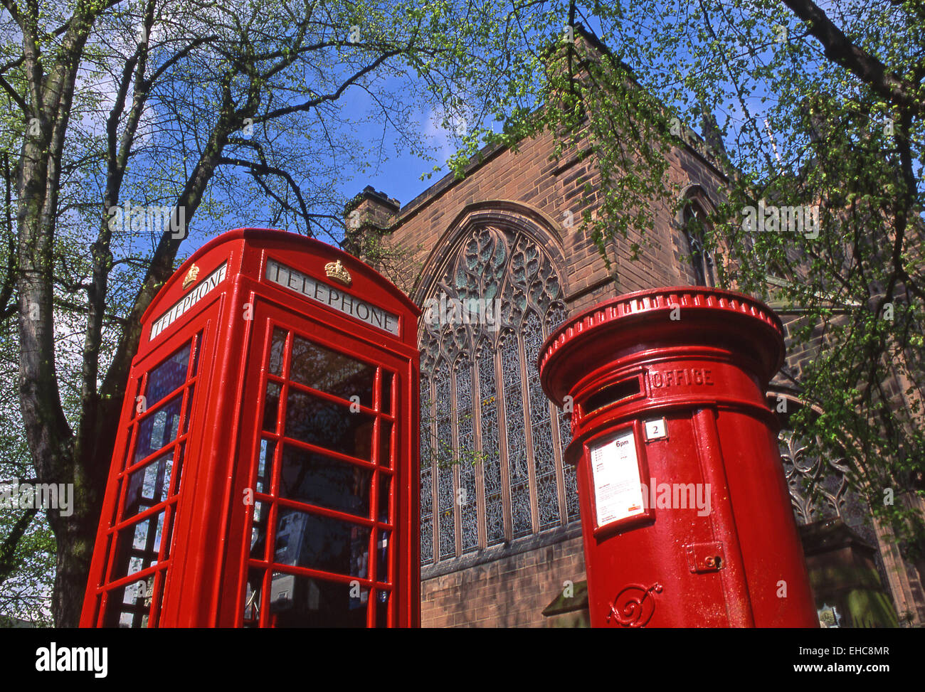 Traditional Red Telephone and Postal Boxes, Chester, Cheshire, England, UK - Stock Image