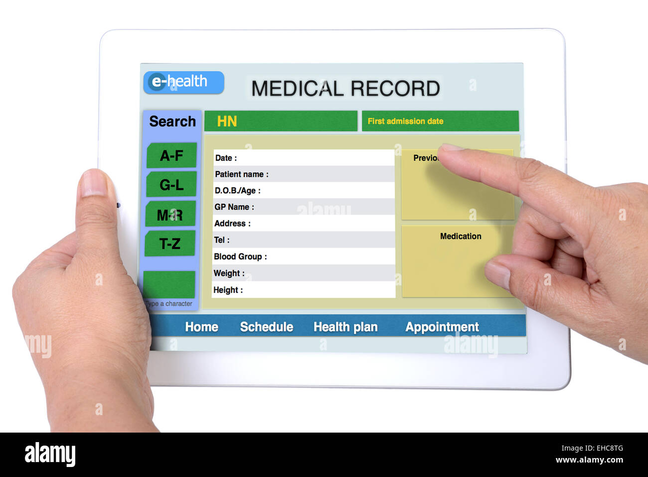 Medical record for e-health information on tablet. Stock Photo