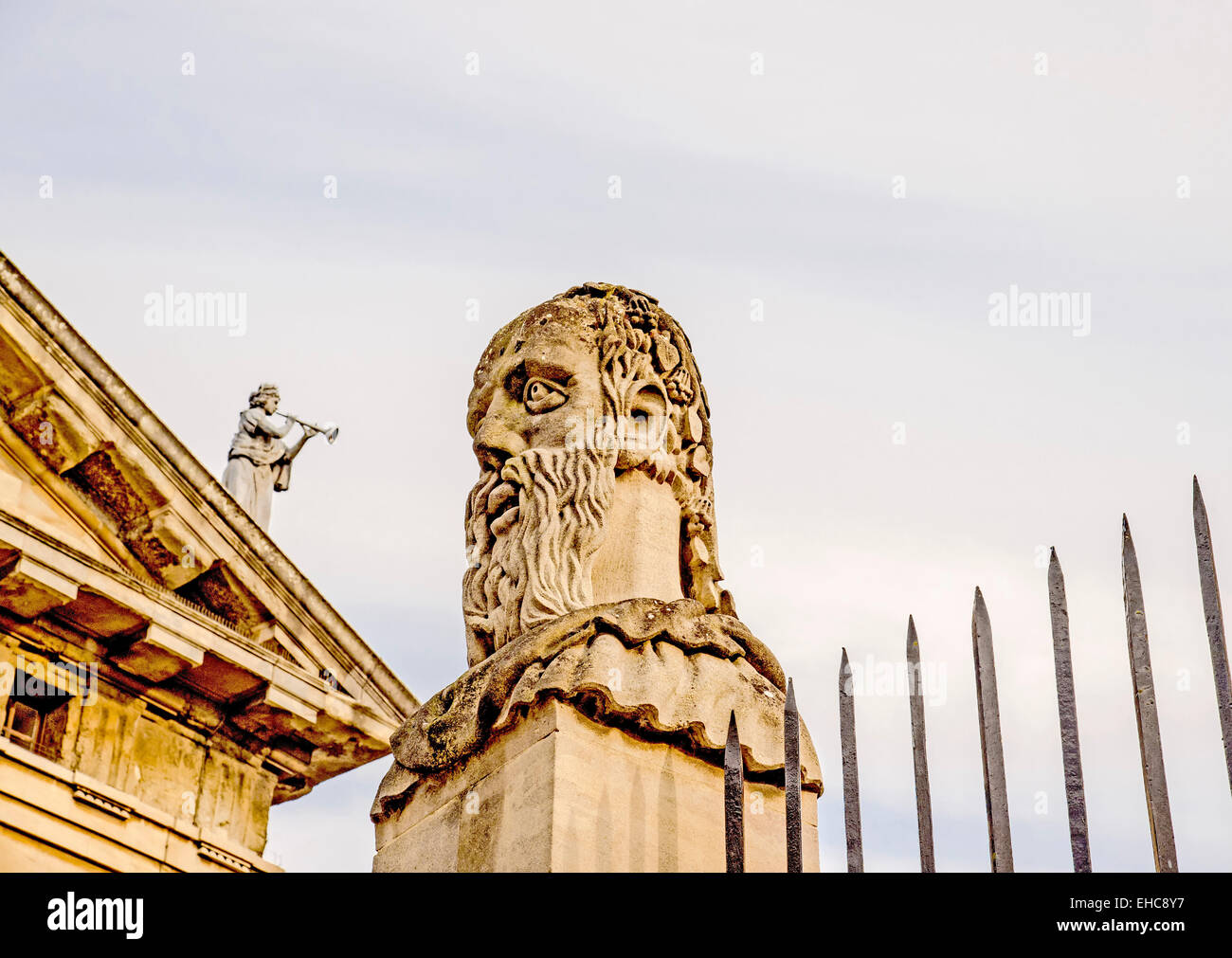 Busts of the Emperor's (or Apostles') Heads outside the Sheldonian Theatre in Oxford Stock Photo