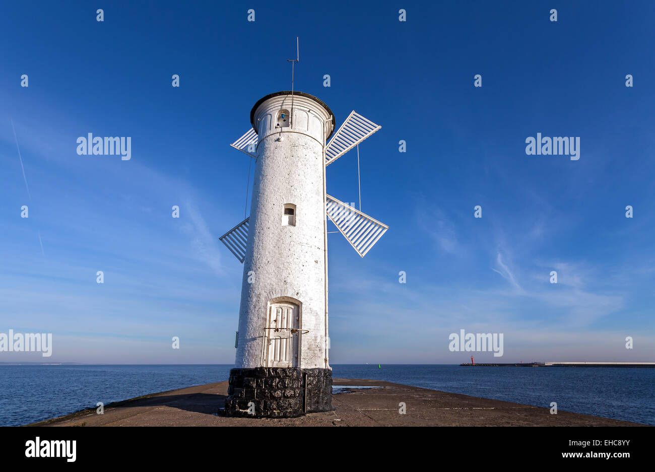 Old windmill lighthouse in Swinoujscie, Poland. - Stock Image