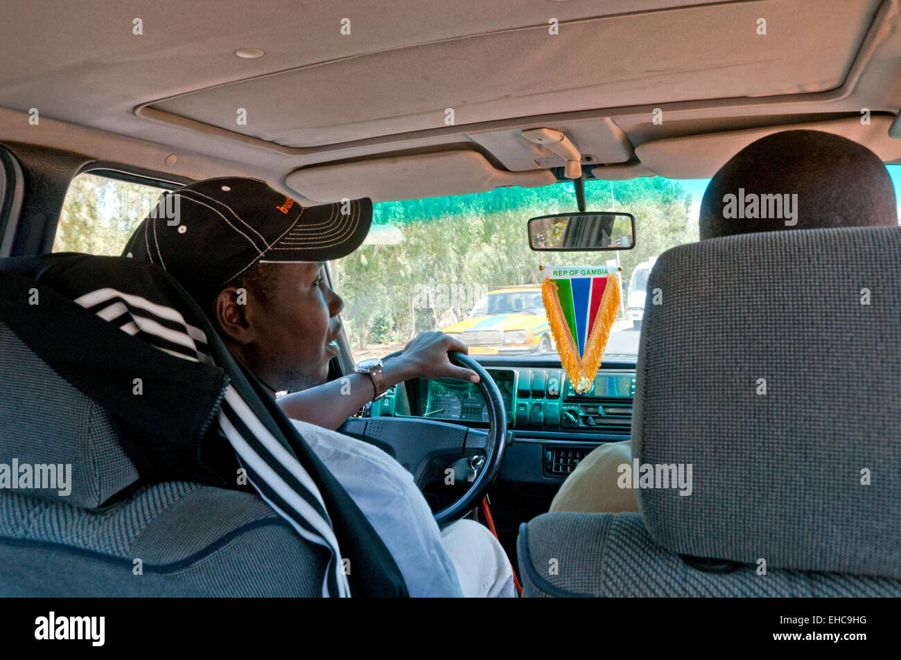 Taxi Journey in Banjul, The Gambia, West Africa - Stock Image