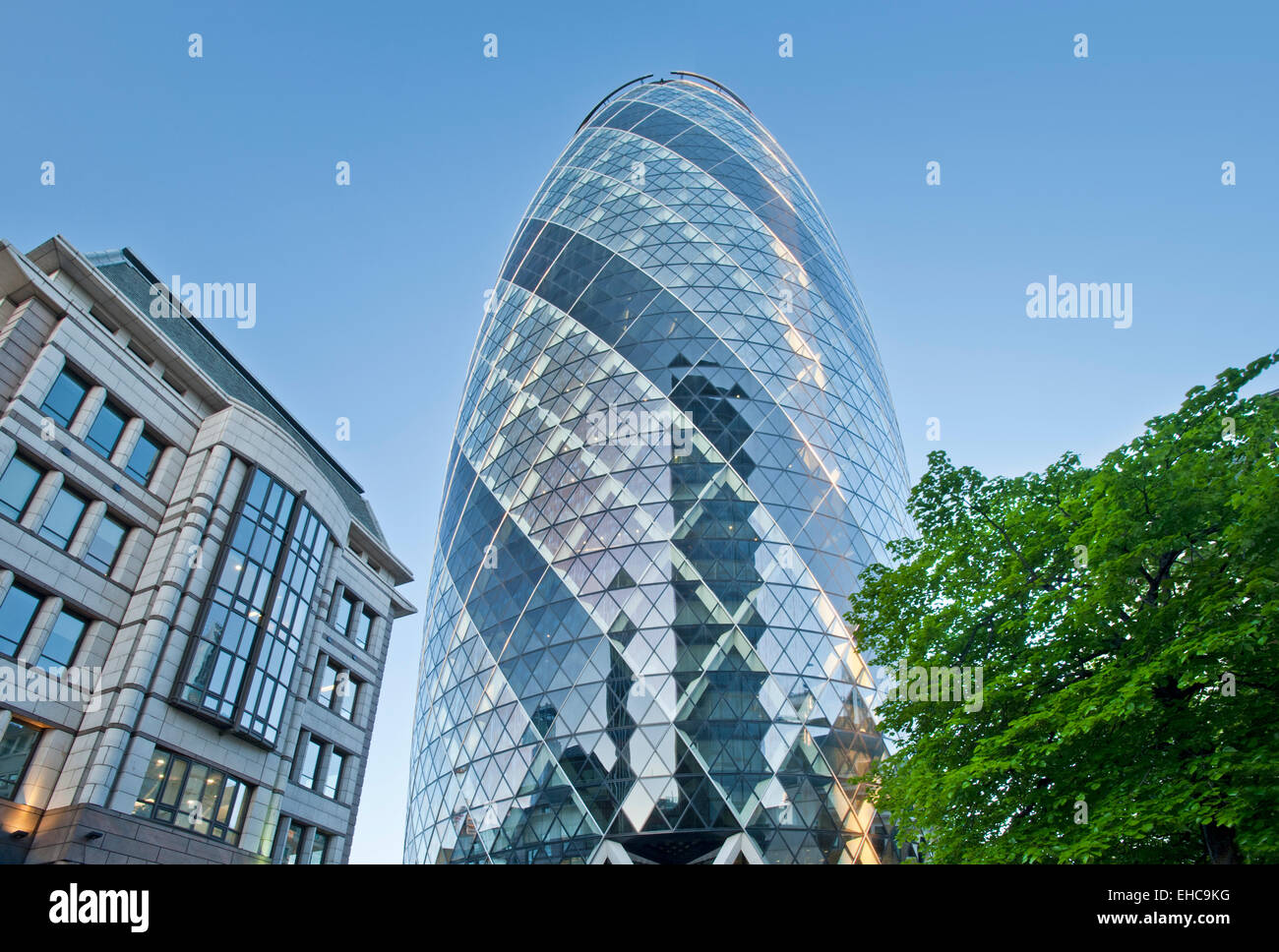 The Gherkin or The Swiss Re Building, City of London, England, UK - Stock Image