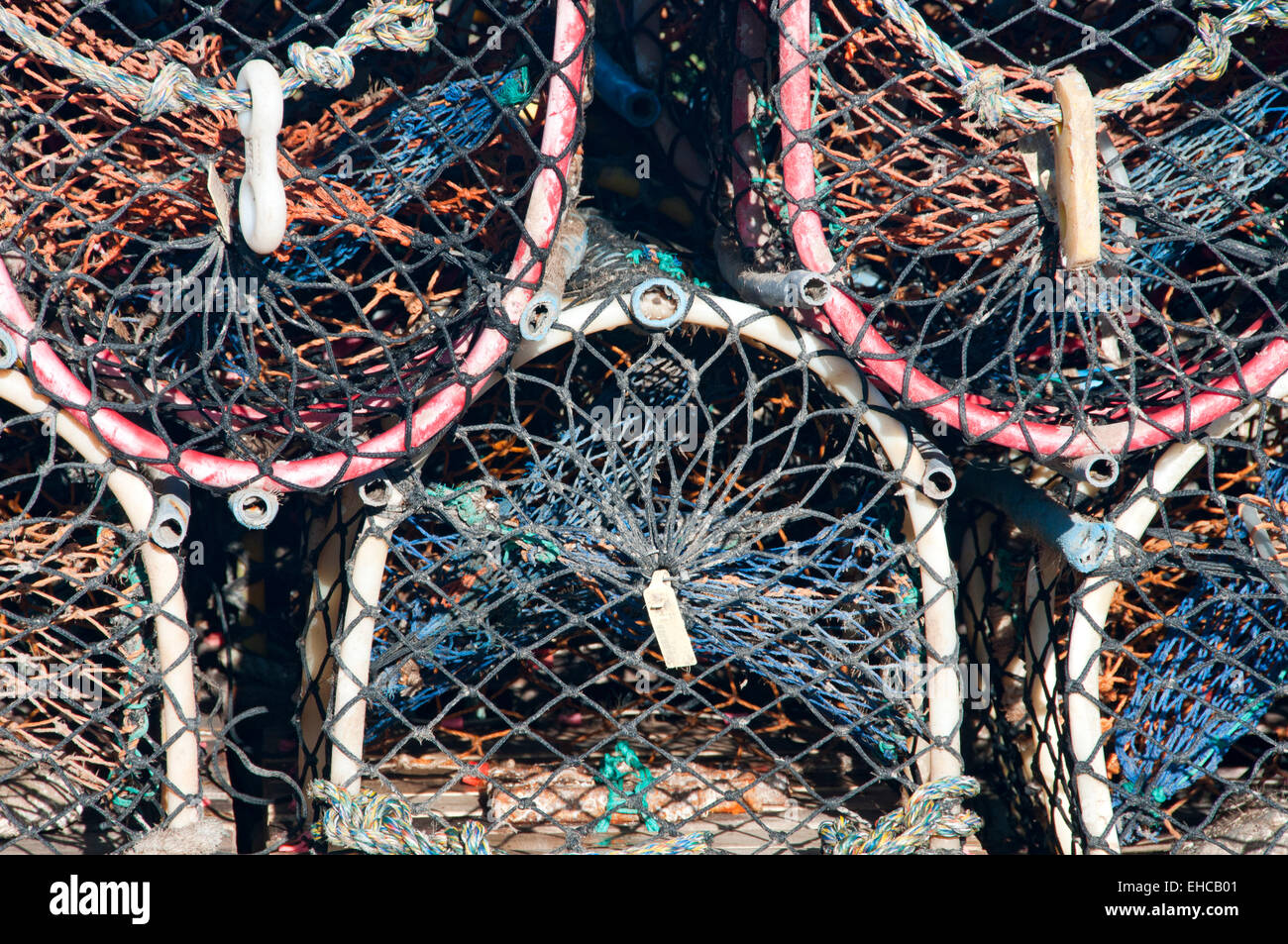 Detail of a Row of Lobster Pots, Lindisfarne, Northumberland, England, - Stock Image