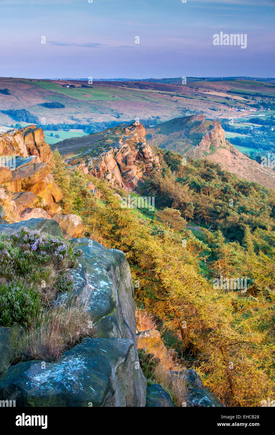 Evening Light on The Roaches, Peak District National Park, Staffordshire, England, UK - Stock Image