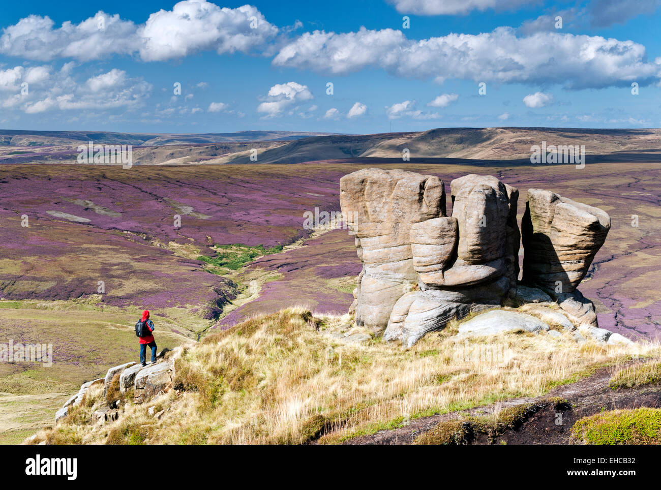The Boxing Glove Stones, Kinder Scout, Peak District National Park, Derbyshire, England, UK - Stock Image