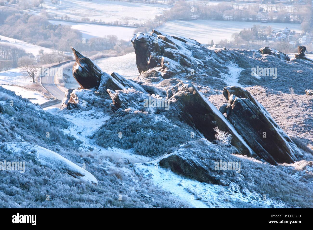 Winters Dawn at Ramshaw Rocks, Near Leek, Peak District National Park, Staffordshire, England, UK - Stock Image