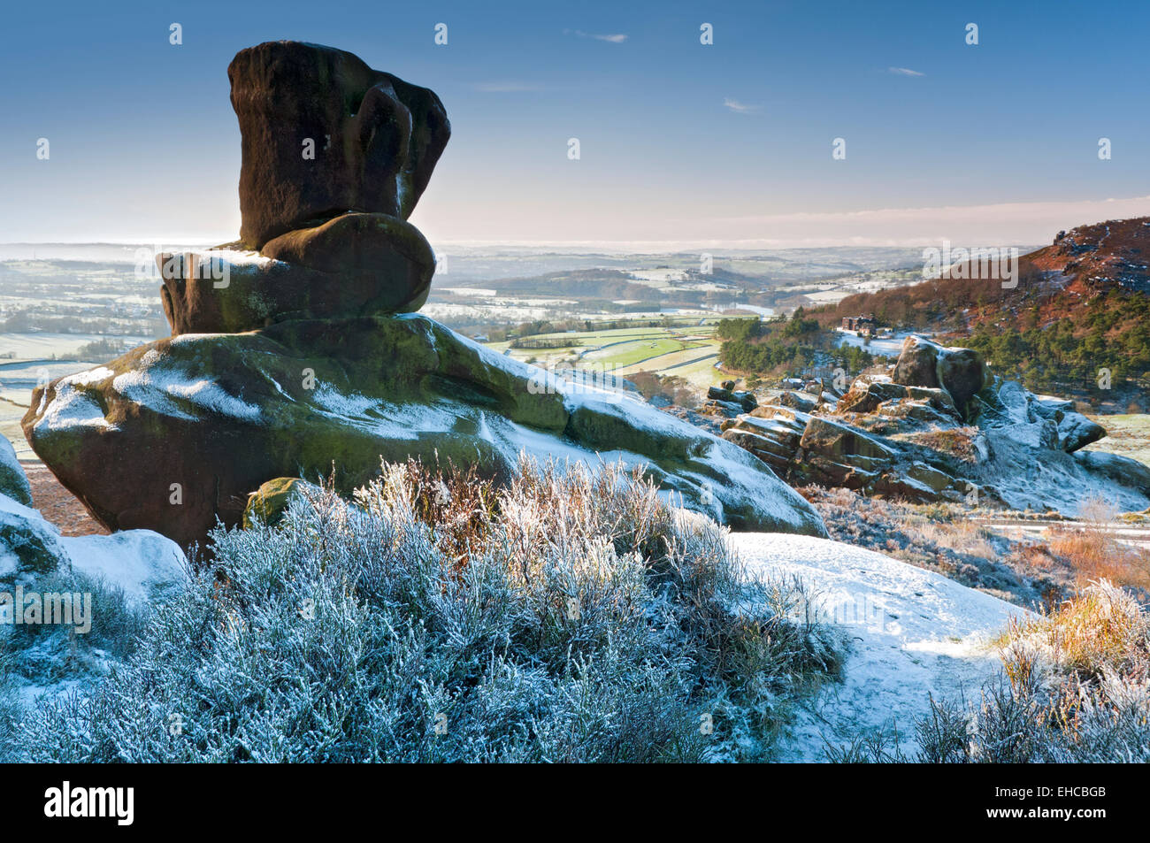 Roaches Hall from Ramshaw Rocks in Winter, Peak District National Park, Staffordshire, England, UK - Stock Image