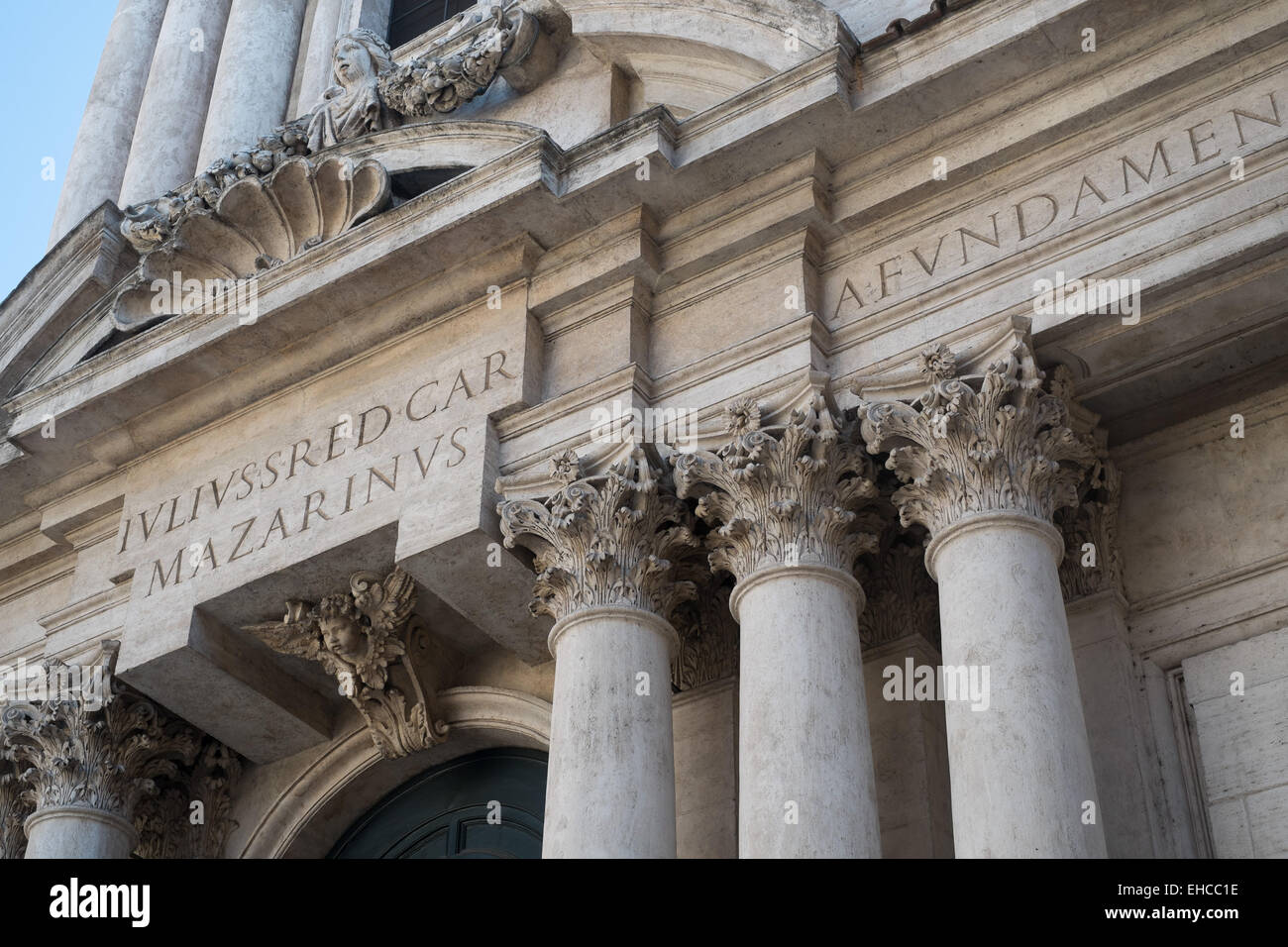 Church entablature detail in Rome Italy. - Stock Image