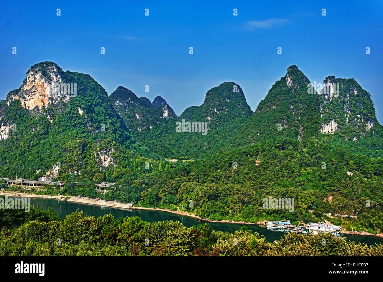 Li river, near Yangshuo in Guangxi province  China Stock Photo