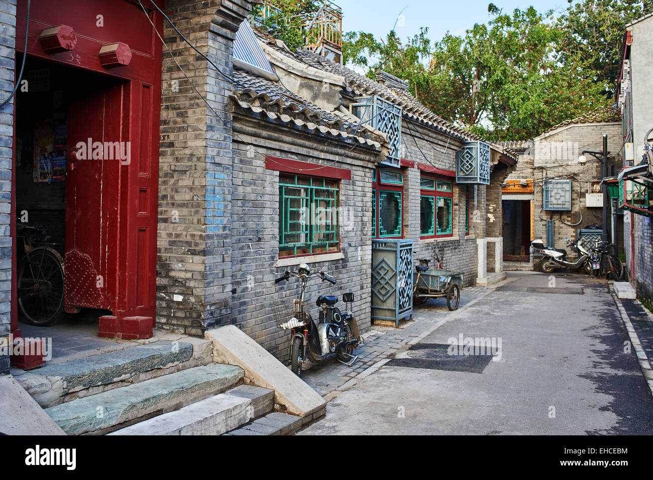 Beijing , China - September 24, 2014:  Chinese traditional Yindingqiao Hutong streets Beijing Chin - Stock Image