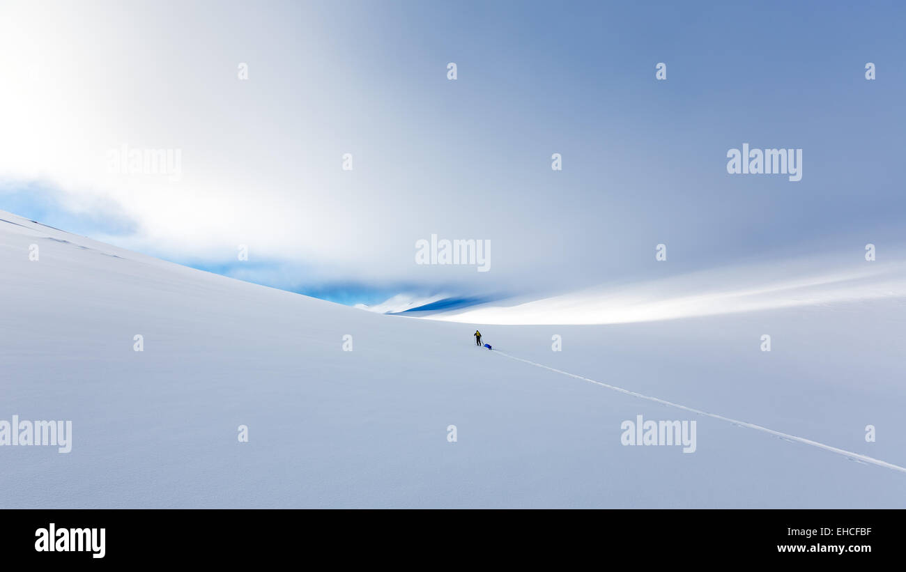 Skiing hiking at Kebnekaise mountain area, Kiruna, Sweden, Europe, EU - Stock Image