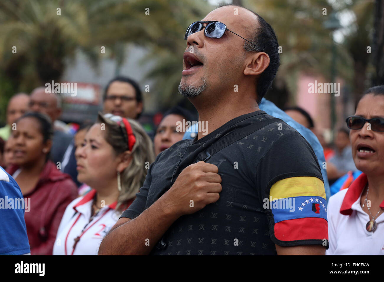 Caracas, Venezuela. 11th Mar, 2015. A person takes part in an Anti-Imperialist Tribune to show the rejection against - Stock Image