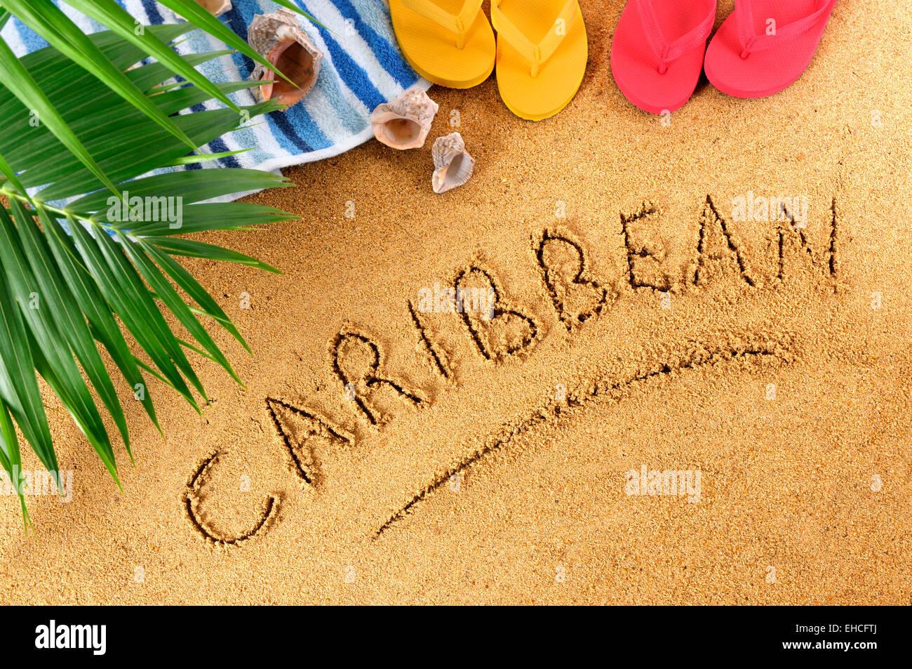 b8a616a7af4ec Caribbean beach background with towel