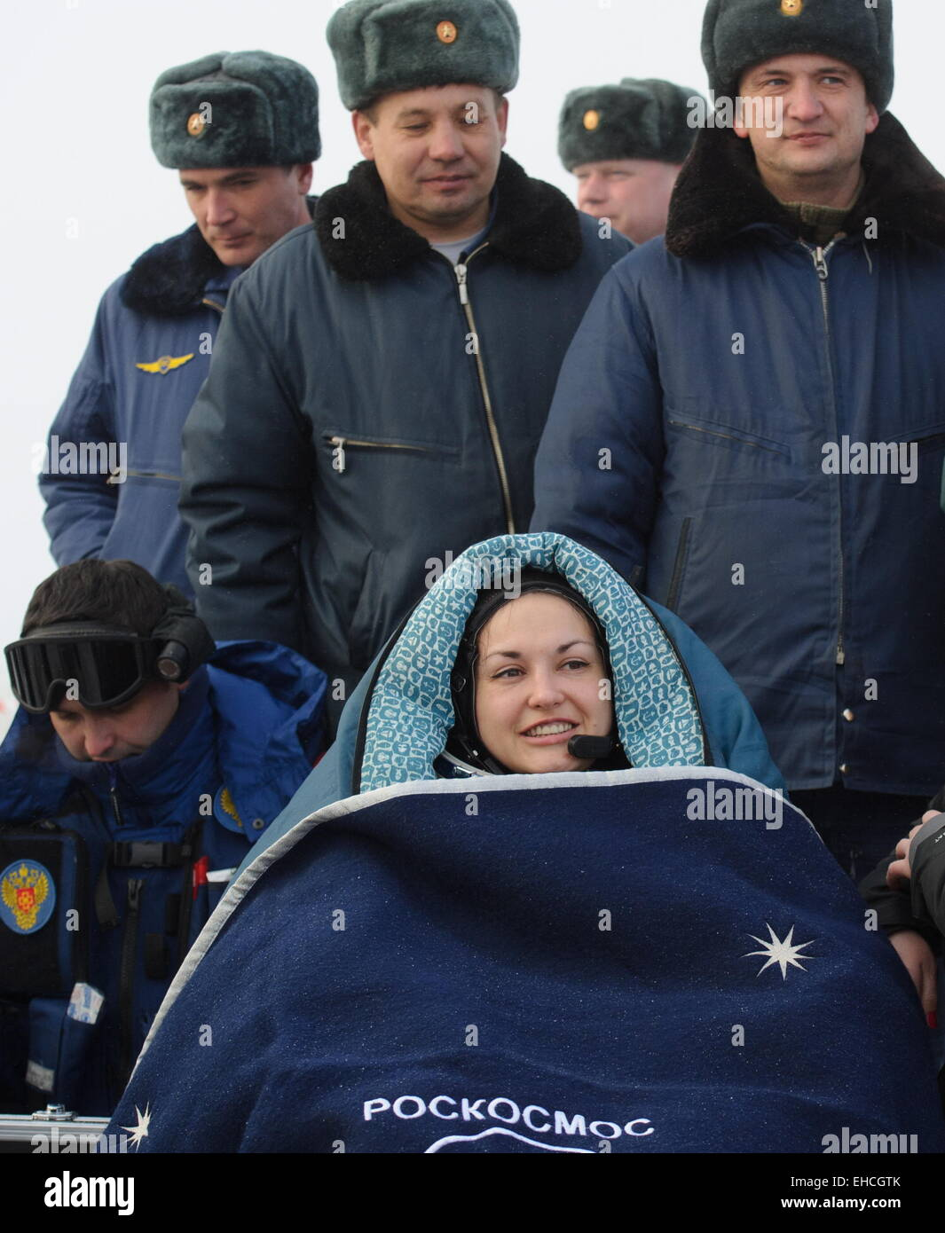 Kazakhstan. 12th March, 2015. ISS Expedition 41/42 crew member, Russia's cosmonaut Yelena Serova seen after - Stock Image