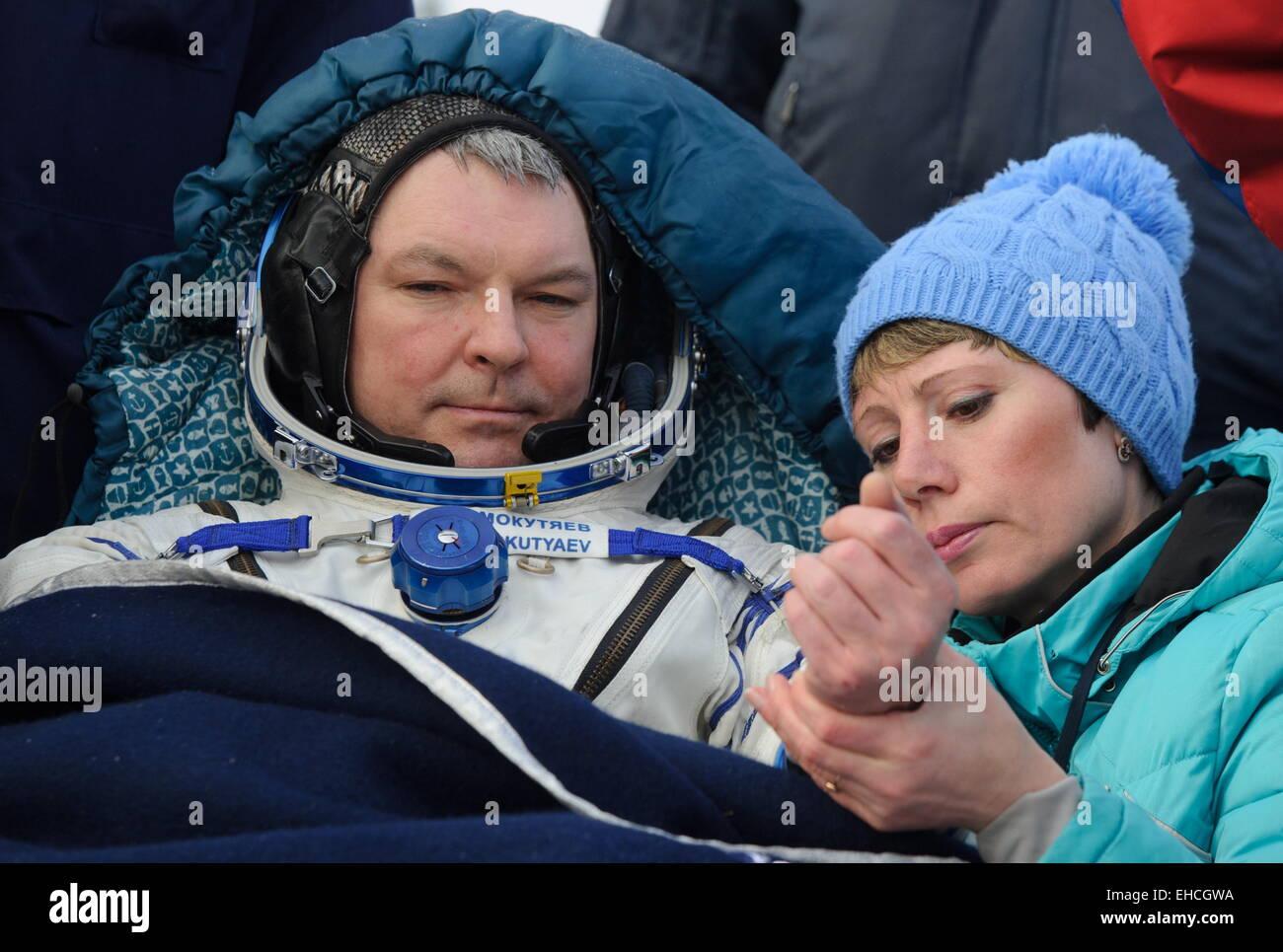 Kazakhstan. 12th March, 2015. ISS Expedition 41/42 crew member, Russia's cosmonaut Alexander Samokutyayev seen - Stock Image