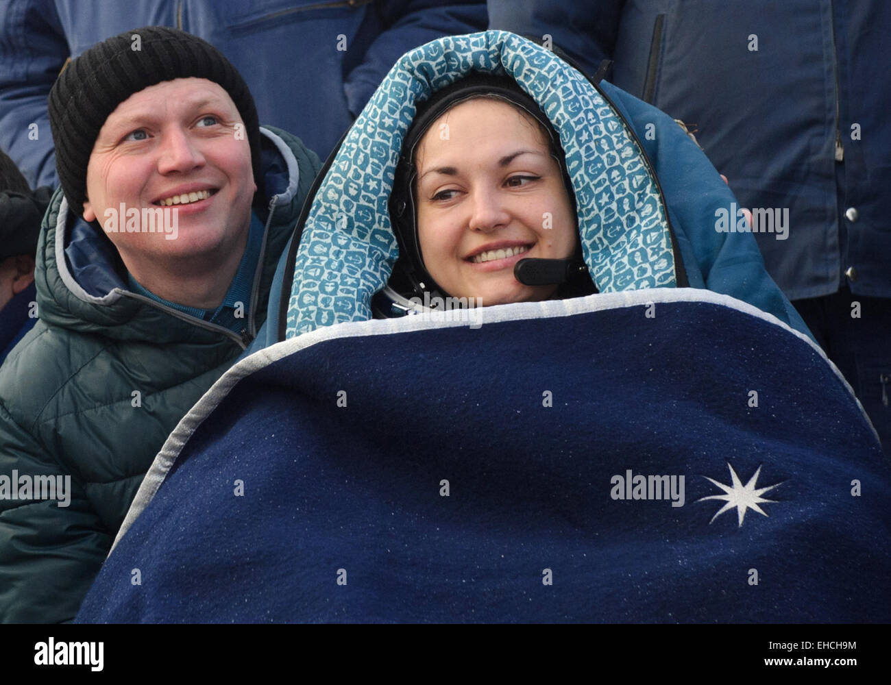 Kazakhstan. 12th March, 2015. ISS Expedition 41/42 crew member, Russia's cosmonaut Yelena Serova (R) seen after - Stock Image