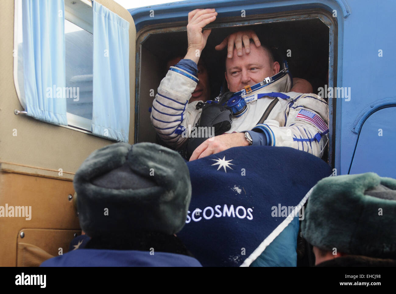 Kazakhstan. 12th March, 2015. ISS Expedition 41/42 crew member, NASA astronaut Barry Wilmore seen after the landing - Stock Image