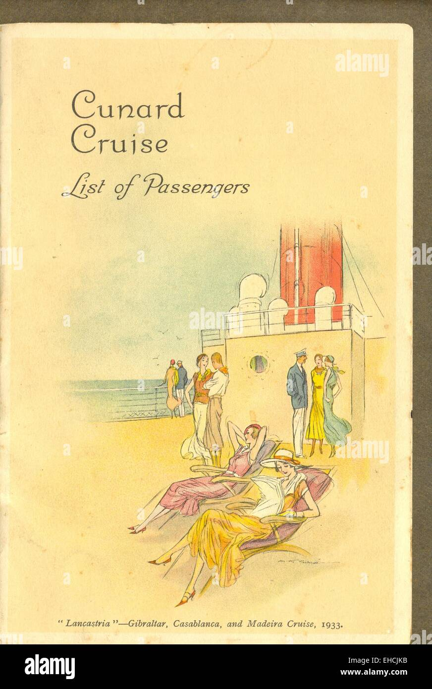 List of Passengers for Cunard Cruise on R M S Lancastria Stock Photo