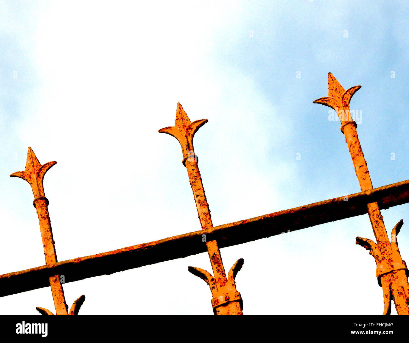 Fence diagonally - Stock Image