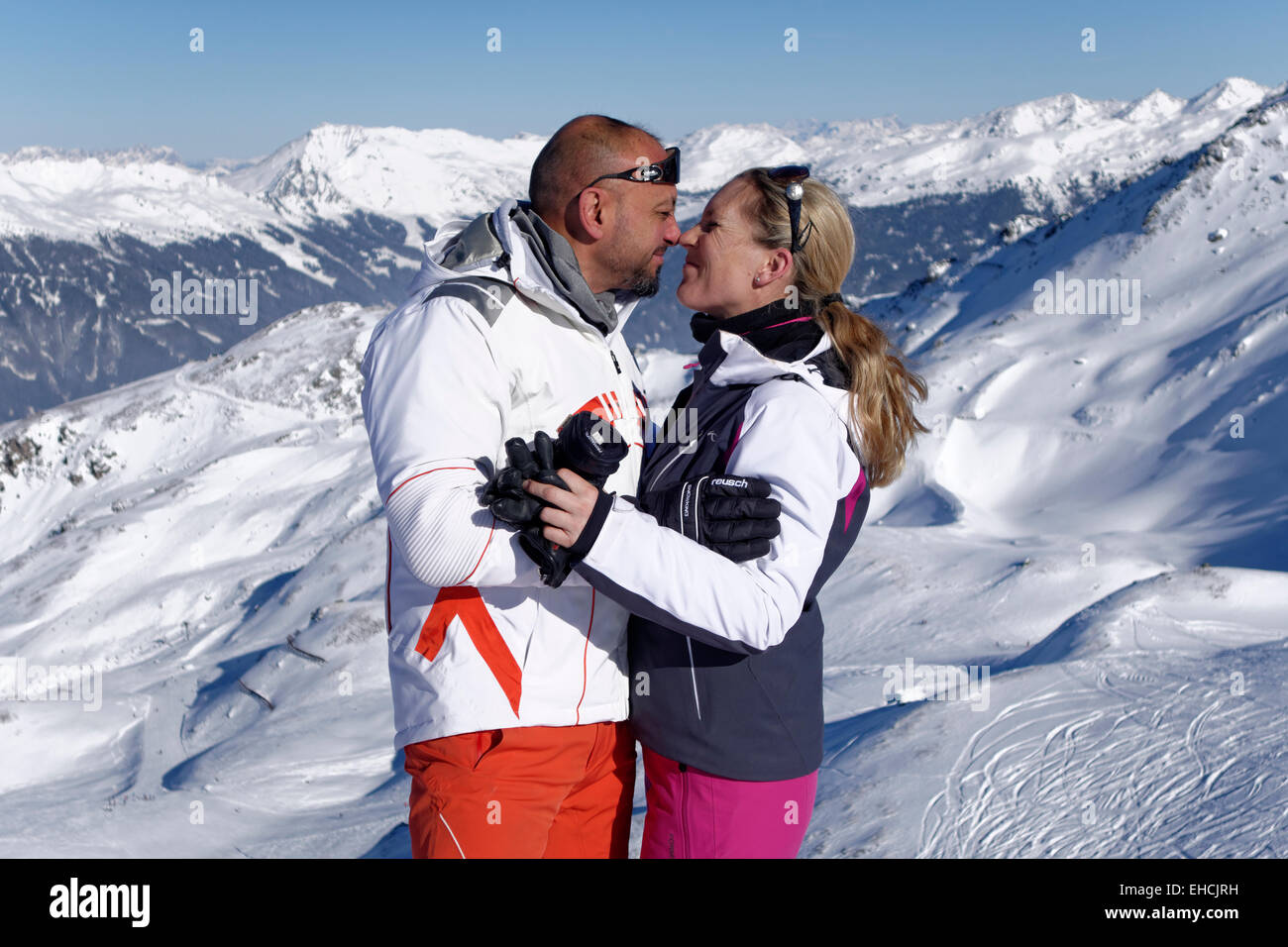 Lovers during winter holidays, Zillertal Skiing Area, near Hochfügen, Kaltenbach im Zillertal, Tyrol, Austria Stock Photo