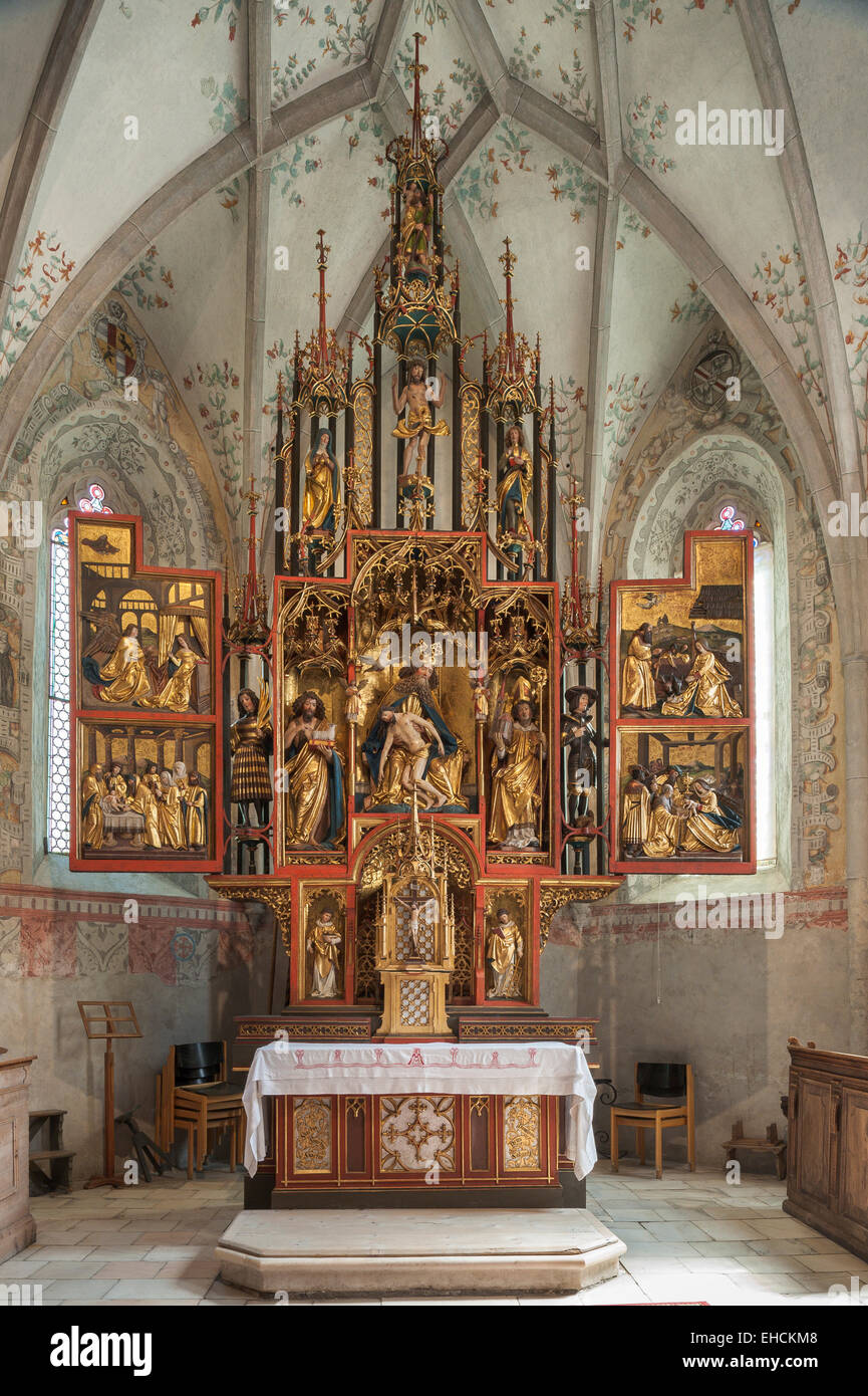 Hospital Church of the Holy Trinity, interior, famous winged altar by Jörg Lederer, late Gothic, 1520, Latsch, - Stock Image