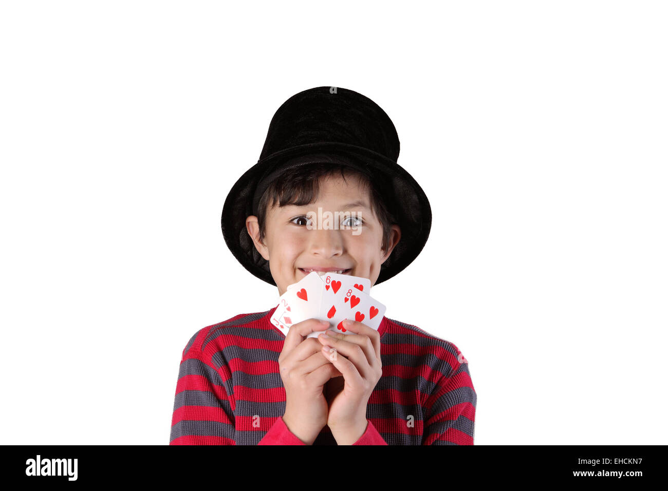 Young magician boy on isolated background - Stock Image