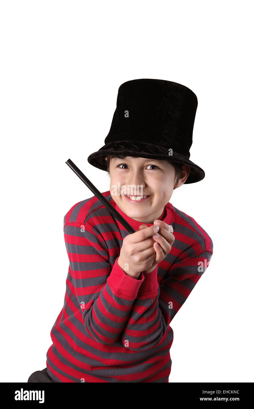 Young magician series - isolated on white - Stock Image