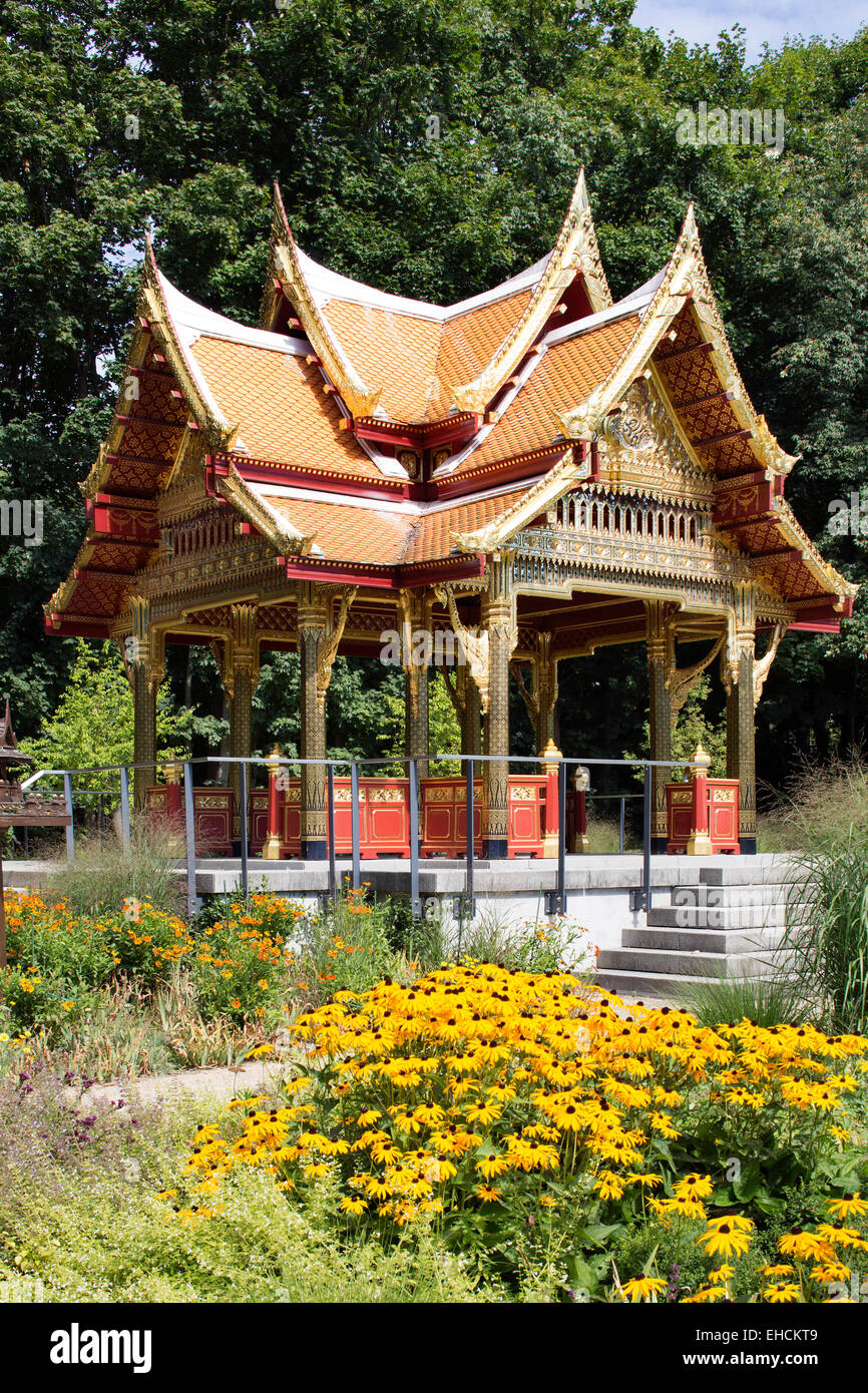 Sala Thai Pavilion, Thai temple in the spa gardens of Bad Homburg, Hesse, Germany - Stock Image