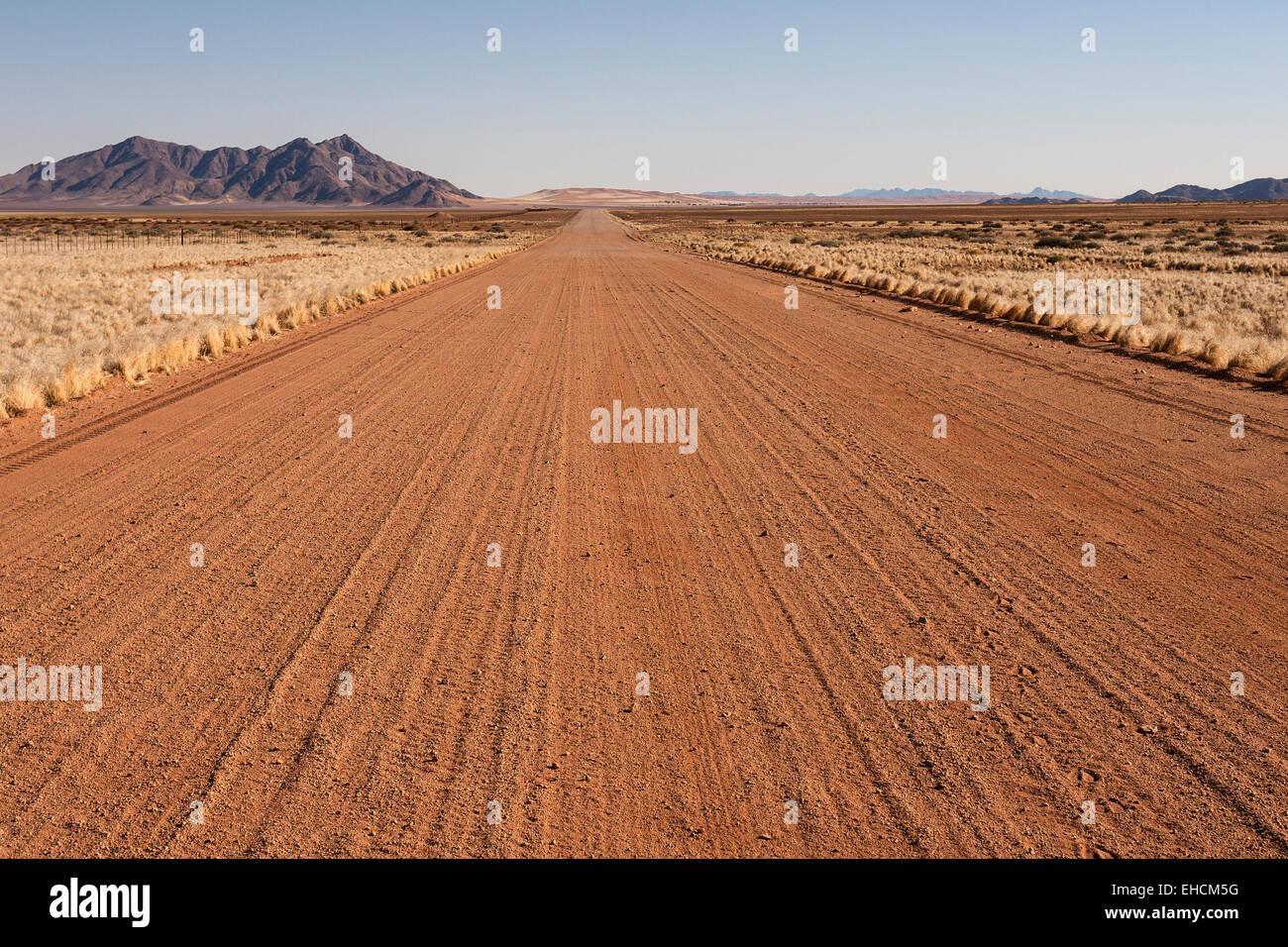 Pad D707, road along the Namib Desert, Namib Naukluft Park, Namibia - Stock Image
