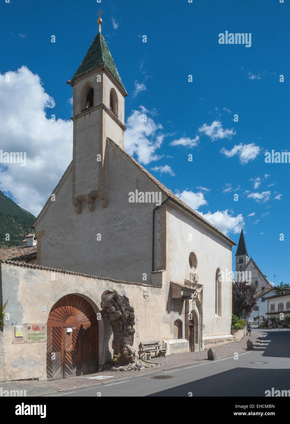 Hospital Church of the Holy Spirit, 1524, Latsch, Laces, Vinschgau, South Tyrol, Italy - Stock Image