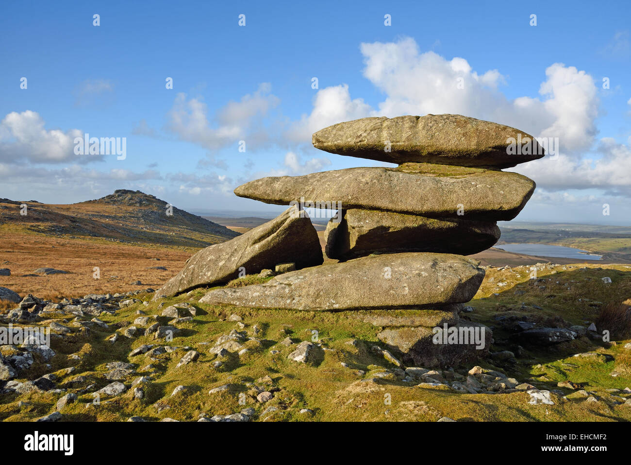 Showery Tor, the northernmost summit of the Roughtor ridge on Bodmin Moor, Cornwall. The summit of Roughtor is in Stock Photo