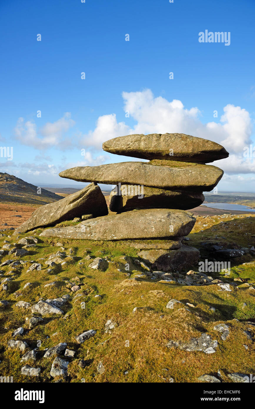 Showery Tor, the northernmost summit of the Roughtor ridge on Bodmin Moor, Cornwall. Stock Photo