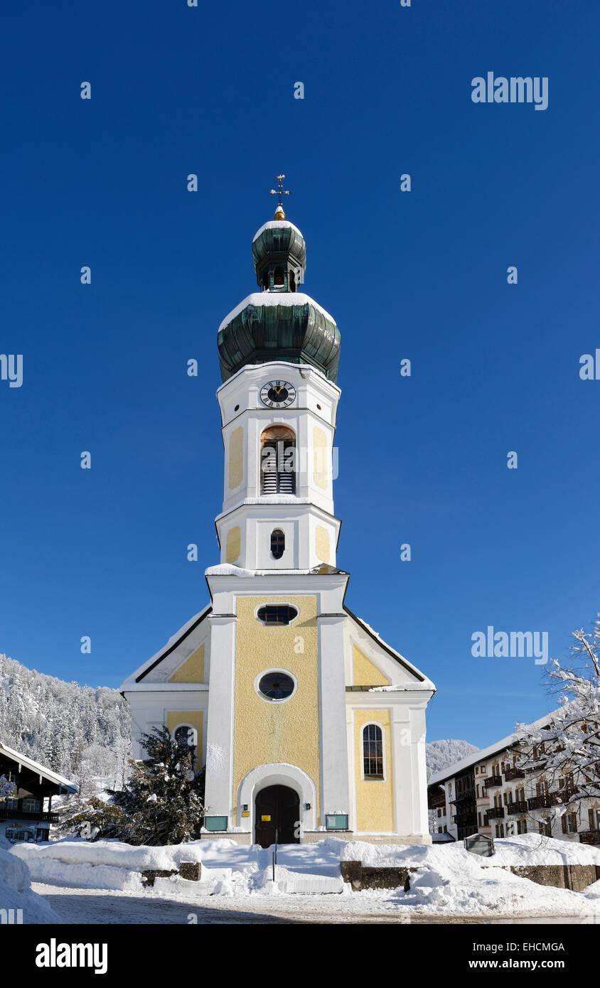 St. Pancras parish church, Reit im Winkl, Chiemgau, Upper Bavaria, Bavaria, Germany - Stock Image
