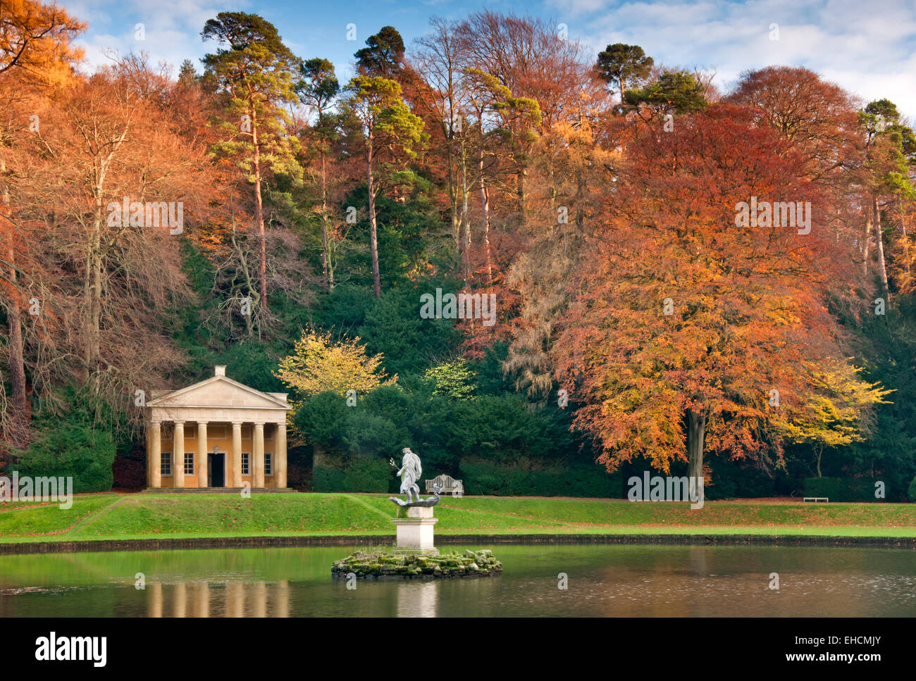 Temple of Piety in Autumn, Studley Royal, Fountains Abbey, Near Ripon, North Yorkshire - Stock Image