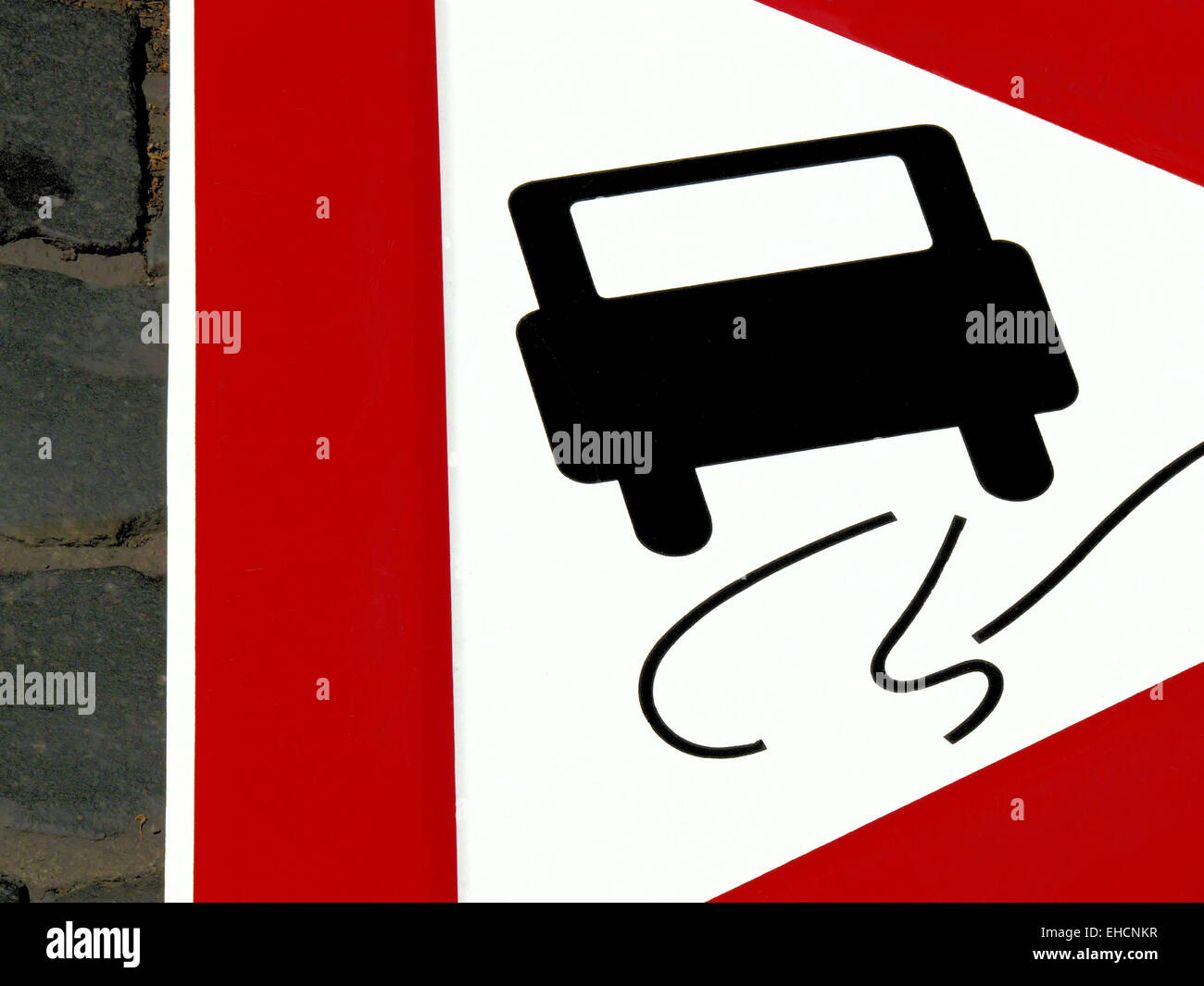 Attention Slippery road - Stock Image