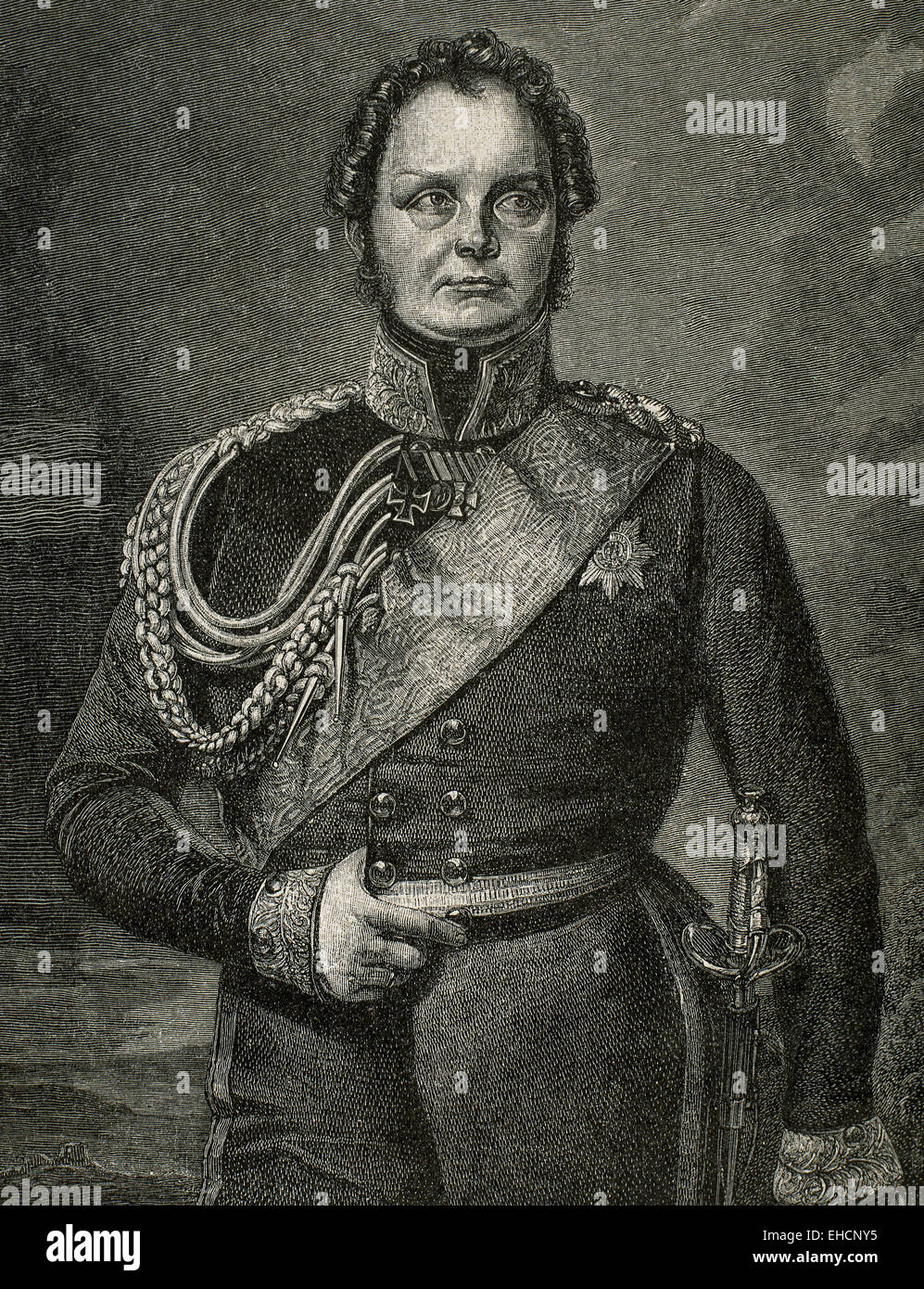 Frederick William IV of Prussia (1795-1861). King of Prusia 1840-1861. Portrait. Engraving by Niedermann. 19th century. - Stock Image